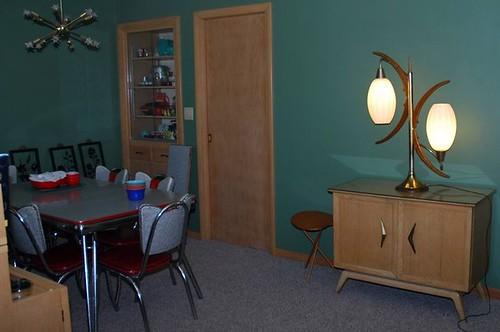 Front Room w/ Lane Cedar Chest, Danish Modern lamp, Sputnik Light & more