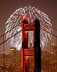 Golden Gate Fireworks (Rob Kroenert) Tags: sanfrancisco california bridge usa night golden gate san francisco long exposure downtown pyramid display fireworks marin kaboom goldengatebridge headlands transamerica kfog