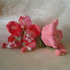 Flower box - cherry blossom and plum blossom - Japanese art craft 2 (raycious) Tags: pink red japanese handmade cherryblossom etsy plumblossom sachet japanesecraft