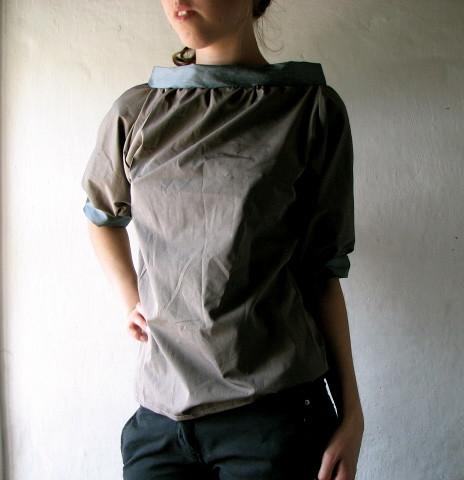 Grey gathered T-shirt
