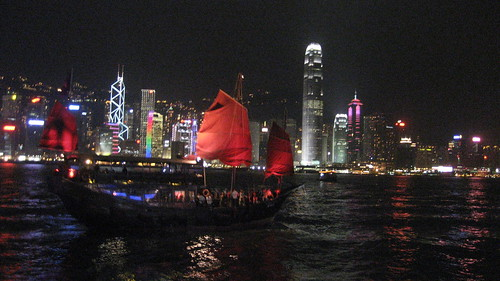 Night View of Victoria Harbour from Avenue of the Stars