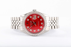 Rolex Mens Datejust Stainless Steel Custom Red Diamond Dial (timeandgems) Tags: rolexwatch diamondwatch rolexdatejust