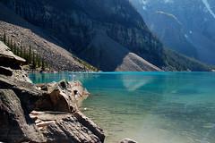 Green Morraine (patrice begin) Tags: mountain lake canada mountains d50 rockies kayak jasper hiking turquoise alpine alberta kayaking ten banff peaks bestshots morraine lousie rocheuse