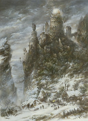 """The Castle"" (Yaroslav Gerzhedovich) Tags: winter color building tower castle art rock illustration painting landscape surrealism ruin picture brush fantasy imagination mythology mystic drybrush tempera detailed steampunk elaborate yaroslavgerzhedovich"