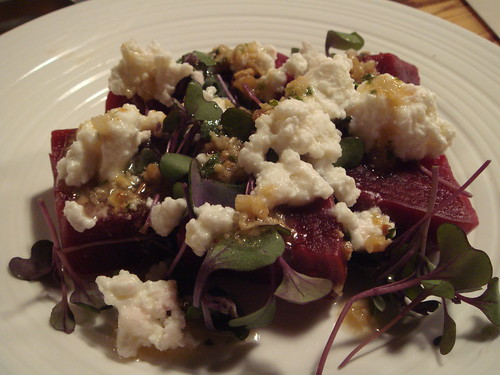 beet salad with sheeps milk feta and pine nut dressing