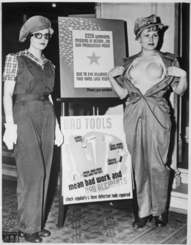 US National Archives photo of women posing for safety promotion