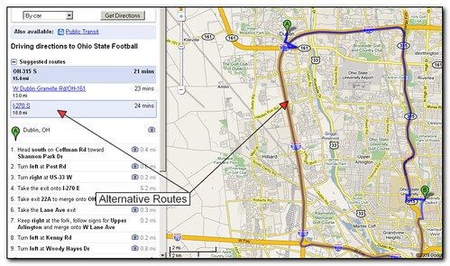 Obtaining alternative routes with Google Maps screenshot (by absoblogginlutely)
