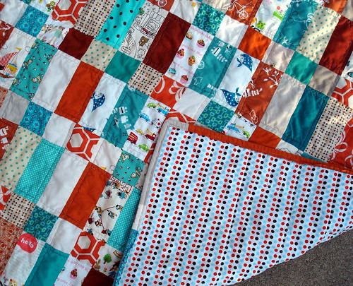 bricks baby quilt, back of quilt