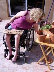 Gardening-Shower042 (candisland) Tags: woman hot broken girl fetish foot weird model shoes toes tits wheelchair leg cast single blonde disabled slc devotee paraplegic candi casted paralyzed quadriplegic