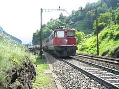 SBB Lokomotive Ae 6/6 11439 Schaffhausen ( Hersteller SLM Nr. 4263 - Baujahr 1957 ) beim Schieben unterhalb Gurtnellen auf der Gotthard Nordrampe der Gotthardbahn im Kanton Uri in der Schweiz (chrchr_75) Tags: hurni christoph schweiz suisse switzerland svizzera suissa swiss chrchr chrchr75 chrigu chriguhurni 2004 bahn eisenbahn lok lokomotive ae 66 ae66 620 ae620 gotthardlokomotive albumbahnenderschweiz zug train juna zoug trainen tog tren поезд паровоз locomotora lokomotiv locomotief locomotiva locomotive railway rautatie chemin de fer ferrovia 鉄道 spoorweg железнодорожный centralstation ferroviaria sbb cff ffs schweizerische bundesbahn bundesbahnen lomomotive eisenban treno albumsbbae66lokomotive