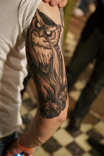 David Bruehl did this tattoo of the Great Owl from the Secret of NIMH for