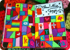 wtj SEW this PAGE (eklektick) Tags: pink blue red orange cloud brown moon kite black flower tree green mushroom thread k yellow rainbow quilt cross heart stitch embroidery sewing sew felt patch patchwork piece hotpink embroider frenchknot kerismith wreckthisjournal sewthispage eklektick