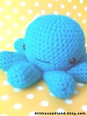Aqua Blue Octopus Amigurumi with Bow 1 (xelishacopeland) Tags: ocean sea cute water animal handmade crochet kawaii octopus etsy amigurumi crocheted