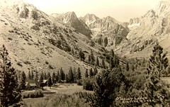 Vintage Post Card: Big Pine Creek, Glacier Lodge, Inyo National Forest, CA (cwalsh415) Tags: california blackandwhite bw favorite calif fave hwm inyonationalforest bigpinecreek glacierlodge harrywmendenhall