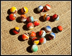 Old All-Red Marbles (Dusty_73) Tags: old game glass agate colors vintage toy orb collection sphere westvirginia americana marbles marble parkersburg allreds vitro vitroagate