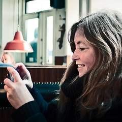the girl and the camera phone #2 (Ben Locke) Tags: café square polaroid march retro ursula vesterbro