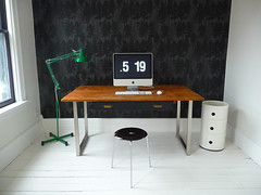 white office, 5:19 (Anna @ D16) Tags: lighting wood wallpaper white black green office arnejacobsen desk victorian anglepoise myhouse renovation stool rowhouse firtree kartell backroom fritzhansen componibili fermliving whitepaintedfloor
