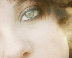 10/52: A pessimist only sees the dark side of the clouds, and mopes... (Shot.By.Shel Photography) Tags: portrait woman macro green eye me girl beautiful face closeup clouds self hair nose eyelashes makeup gimp overlay faded shel eyeliner