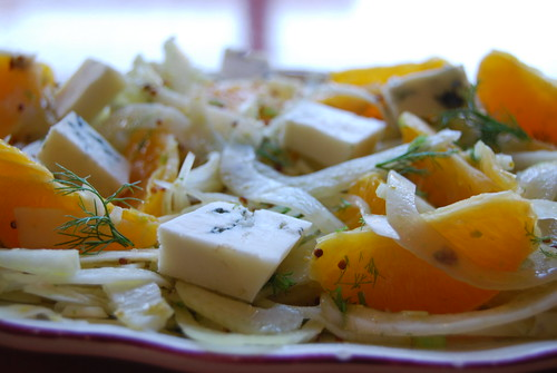 venkelsalade met gorgonzola en sinaasappel