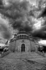 The Church of Saint Constantine and Saint Helena, Glyfada, Greece (5ERG10) Tags: sky blackandwhite bw church sergio architecture clouds photoshop coast nikon europe dramatic wideangle chapel athens bn grecia handheld suburbs orthodox architettura hdr highdynamicrange byzantine piraeus d300 sainthelena 3xp agioskonstantinos glyfada photomatix atene sigma1020 tonemapping glifada  saintconstantine stconstantine glyphada  amiti   5erg10 sergioamiti