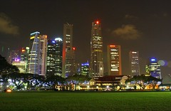 Garden City of Lights (stardex) Tags: city building green field skyline architecture night lights singapore colourful