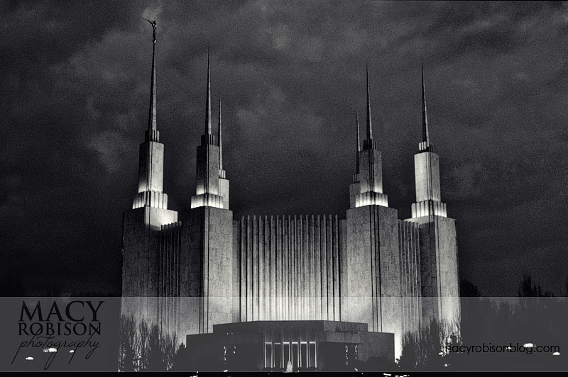 Washington DC Temple - After Dark B&W