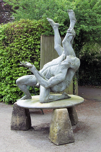 Wrestling Nude Men Statue, Abbey House Gardens, Malmesbury, Wiltshire. by ...