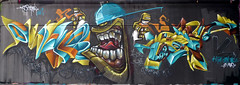 By MYT, DARK ELIXIR, TEFU (C3P) (Thias (-)) Tags: terrain streetart paris wall painting graffiti mural spray painter graff aerosol bombing 91 tefu rode myter c3p frenchgraff darkelixir