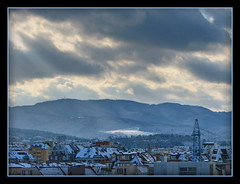 Vitosha Mountain, Sofia, Bulgaria (Mike G. K.) Tags: city houses mountain snow mountains clouds view sofia roofs bulgaria rays blending vitosha photomatix 3exp theunforgettablepictures mikegk:gettyimages=submitted