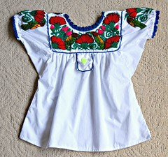 Zapotec Blouse Oaxaca (Teyacapan) Tags: flowers birds mexico clothing embroidery sewing crafts mexican pajaros oaxaca textiles ropa blouses trajes zapotec blusas teitipac