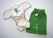 Ripple set - organic embroidered fitted & shorties - medium