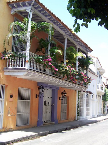 A colonial building in Old Town in Cartagena, Colombia