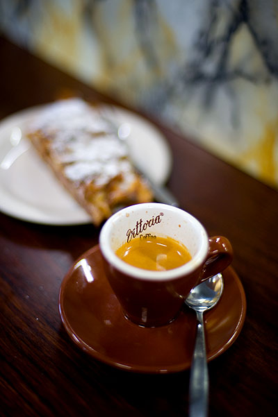 A short black and apple strudel at Pelligrini, Melbourne