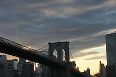 BROOKLYN BRIDGE FLAG (kevinh_photos) Tags: nyc sunset skyline americanflag brooklynbridge godblessamerica kevinhphotos
