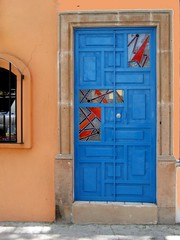 blue door w/ stained glass (msdonnalee) Tags:  porta tr  photosbydonnacleveland
