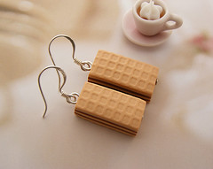 Wafer Earrings (Shay Aaron) Tags: food ice coffee cake miniature whimsy handmade chocolate cream fake mini jewelry polymerclay clay apricot wafer bonbon waffle geekery           foodjewelry  shayaaron