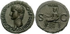 GAIUS CALIGULA. Vesta As- RIC 38 37-41 AD.  As - Joe Geranio Collection Anyone May Use as Long as Credit is Given-(Joe Geranio Collection JCIA) (Joe Geranio) Tags: roma art coin all coins joe caesar julio estatuas imperial claudio ritratto nero courtesy augustus association augusto romanart tiberius texts claudius geranio imperator ancientrome caligula romansculpture nerone iconographic romanmuseum tiberio classicalart 1stcenturyad anticaroma princeps earlyempire julioclaudian claudian imperialrome romanportrait firstcenturyad caligola claudianperiod augustanperiod earlyimperialperiod romanimperialperiod vestaas caligulanperiod bildnisse joegeranio romancoinage romanportraitstudy imperialart romannumismatics diebildnissedescaligula romanimagery romanepigraphy neronianperiod tiberianperiod earlyimperialrome augustanage romanmetallurgy portraitureofthejulioclaudians imperialimagery imperialiconography diebildnisse ancientromanportraiture julioclaudianiconographicassociation cngcoinscom