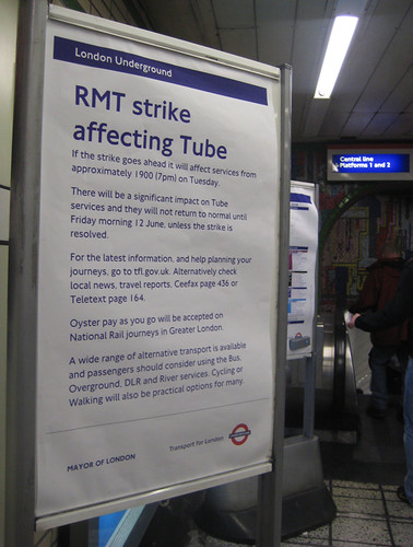 Tube Strike notice at Tottenham Court Road