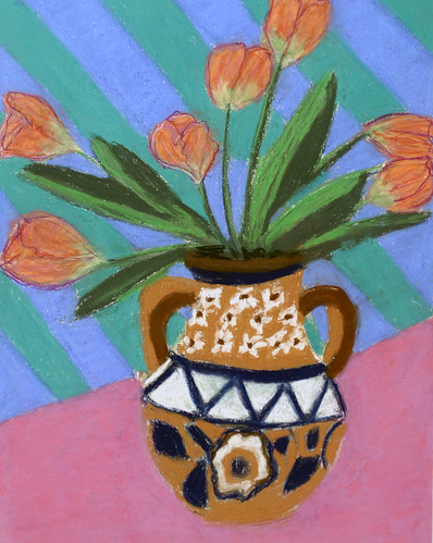 """Tulips in Decorative Jug - pastel on paper 22"""" x 30"""" $1100"""