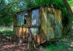 Strange abandoned buildings, Dorset [Explored] (ryme-intrinseca) Tags: house abandoned strange rural buildings countryside weird fly high dynamic decay rusty spooky squat dorset caravan outhouse range derelict hdr purbeck tipping outbuildings privy photomatix