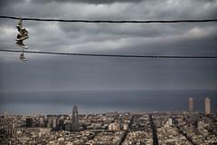 Barcelona y Converse (maytetxu) Tags: barcelona sea streets buildings mar edificios shoes torre view zapatos cables converse vista hanging calles agbar torres mapfre colgando