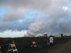 a 1 mile walk to see the lava entering the ocean