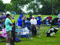 Rain dampened the evening but didn't stop the music at the June 16 installment of Bay View Neighborhood Association's Chill on the Hill in Humboldt Park. ~photo Ken Mobile