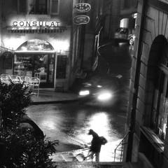 Consulat at the corner (edouardv66) Tags: street old bw man coffee café car rain night stairs dark lights switzerland town blackwhite nikon suisse geneva sigma nb genève noirblanc 2470 nikonsigma d700