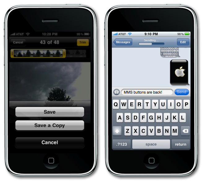 iPhone OS 3.1 Video & MMS