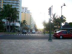 Looking from beach up Kapahulu Ave