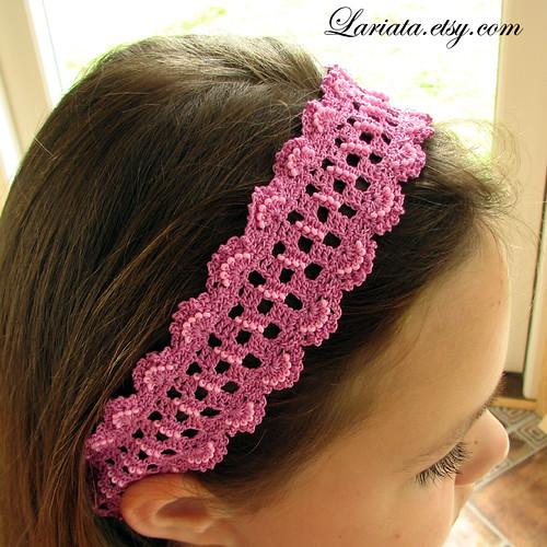 crocheted and embellished headband
