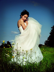 The Girl in the White Dress (intocollidingentropy) Tags: flowers blue trees summer sky brown white green girl field grass fashion clouds hair model pretty dress wind lips sparkle fancy pout sultry lacy filmy