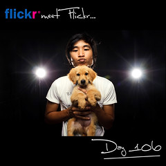 Day 106: Flickr Meet Flickr! (L S G) Tags: portrait selfportrait goldenretriever puppy studio nikon flash sb600 pinoy d3 lsg project365 365days strobist 365daysproject nikond3