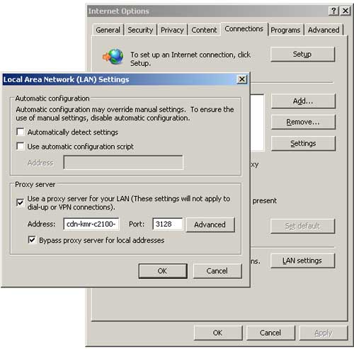 Configure Internet Explorer / Google Chrome to use alternative TM proxy server